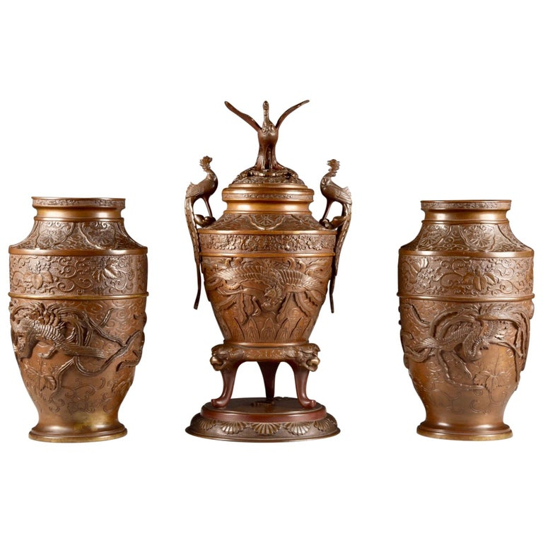 Three-Part Bronze Japanese Incense Burner, Meiji Period, Late 19th Century For Sale