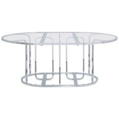Three Part Chromium Steel Framed Glass Dining Table, 1970s