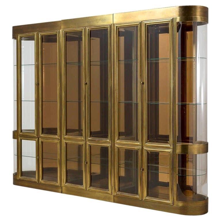 Three Part Mastercraft Designed Brass and Glass Display or Vitrine Cabinets