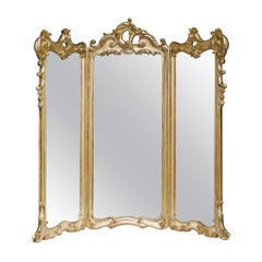 Three-Part Mirror with Gold Leaf