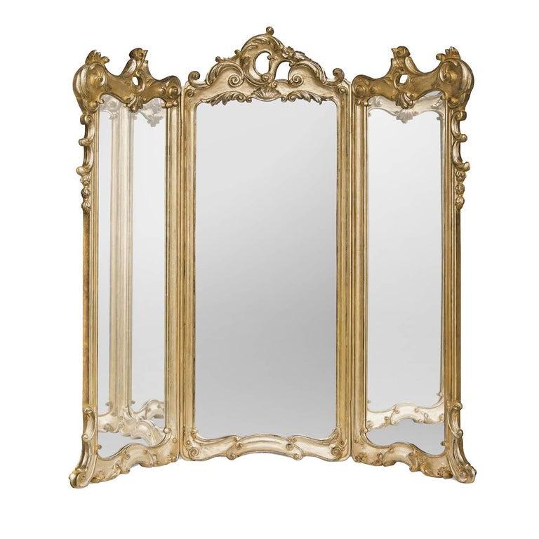 Three-Part Mirror with Gold Leaf