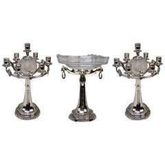 Three-Part Table Set Centerpiece Pair of Candelabras Silver Plated, Germany 1915