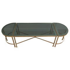Three Parts Gold Gilt Nickel Coffee Table with Blueish Glass Tops, French, 1970s