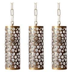 Three Patinated Brass Textured Glass Pendant Lights, Rupert Nikoll, Austria