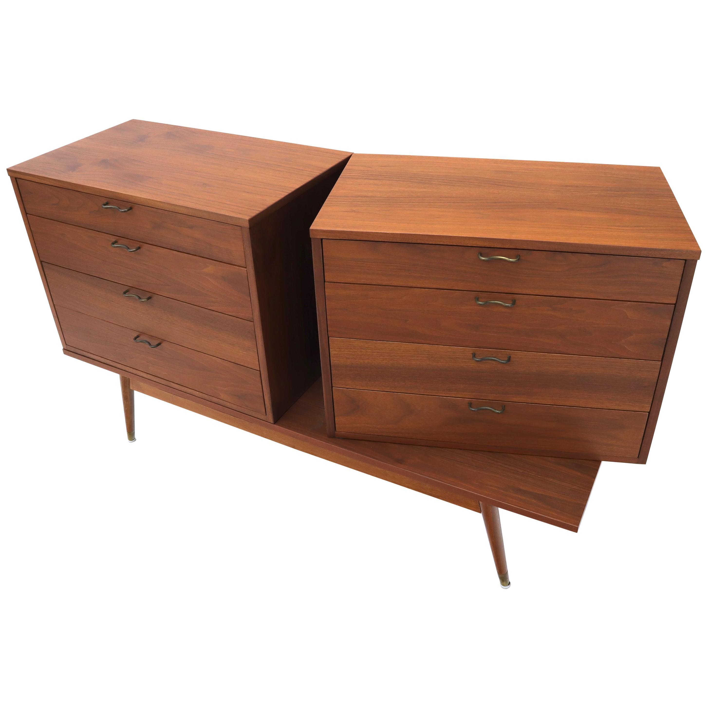Three Pcs Mid-Century Modern Oiled Walnut Chest Dresser Credenza w/ Waive Pulls