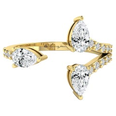 Three Pear Diamond Open Ring in 18 Karat Yellow Gold