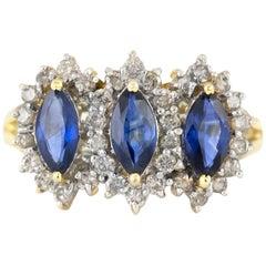Three Pear Shape Sapphire with Diamonds Ring