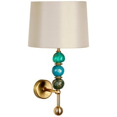 Three Pearl Wall Light by Margit Wittig in Brass with Green Spheres