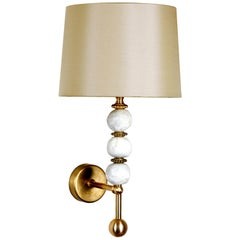 Modern Contemporary Three Pearl Wall Light, Brass & White, Margit Wittig
