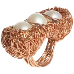 Three Pearls with Rose Gold Statement Ring