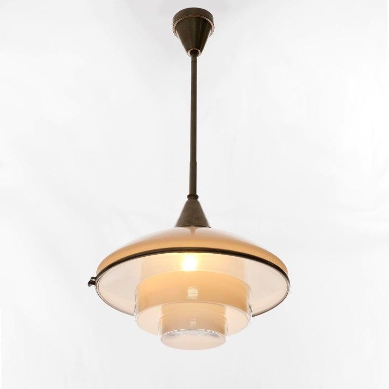Three Pendant Lights, Otto Mueller Sistrah, Nickel Opal Glass, Art Deco, 1931 For Sale 2