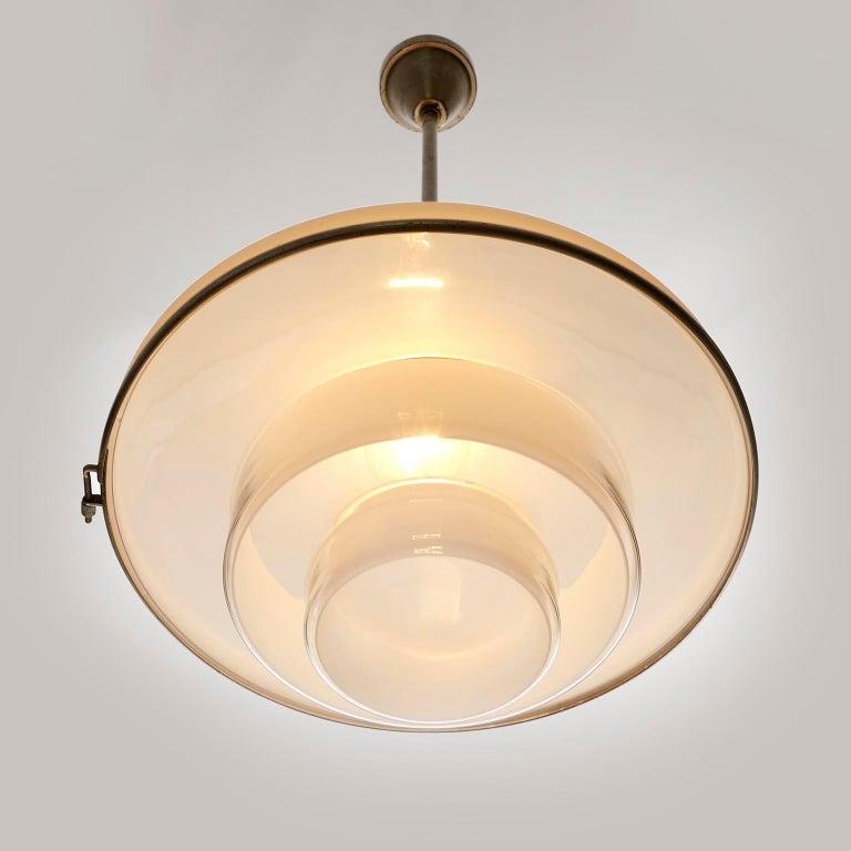 Three Pendant Lights, Otto Mueller Sistrah, Nickel Opal Glass, Art Deco, 1931 For Sale 3