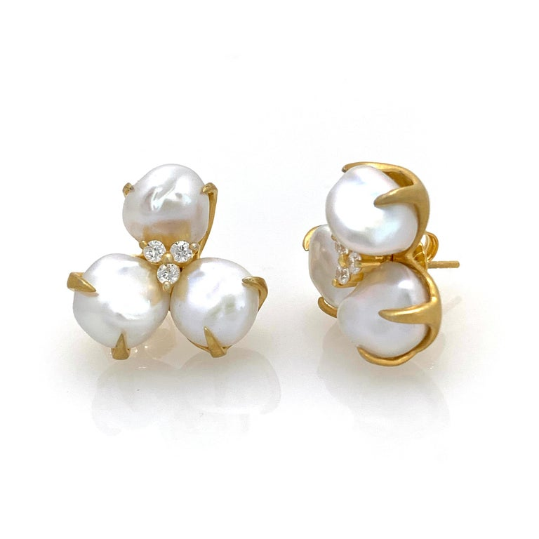 Contemporary Three-petal Baroque Pearl Flower Earrings For Sale