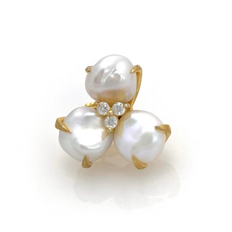 Uncut Three-petal Baroque Pearl Flower Earrings For Sale