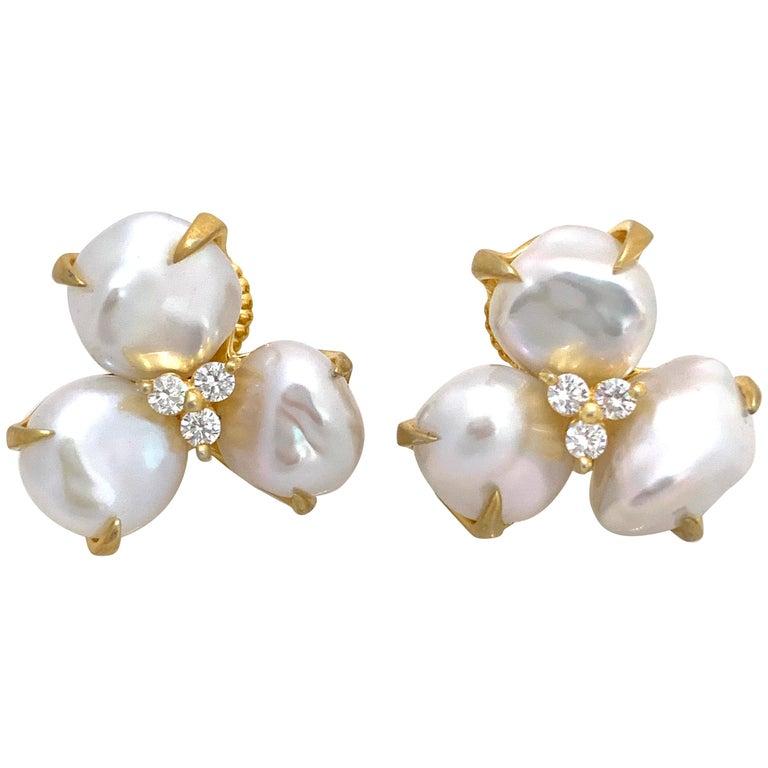 Three-petal Baroque Pearl Flower Earrings For Sale