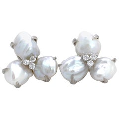 Three-petal Baroque Pearl Flower Earrings