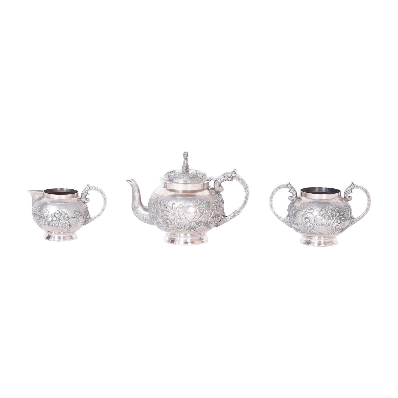 Three-Piece Antique Anglo Indian Silver Tea Service