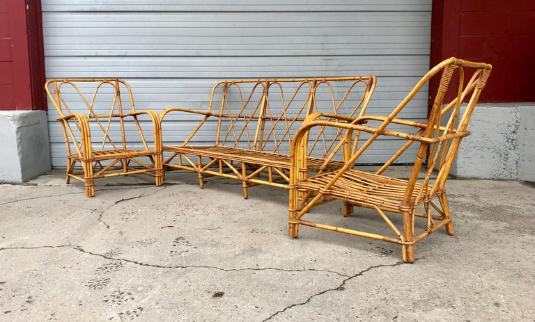 Three piece bamboo rattan living room suite attribute to - Rattan living room furniture for sale ...