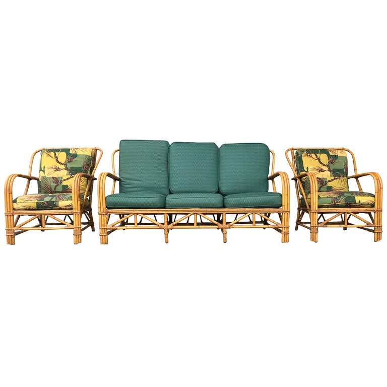 Three Piece Bamboo Rattan Living Room Suite Attribute To