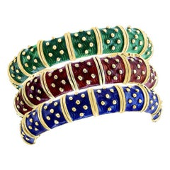 Three-Piece Bangel / Cuff Set Red Green & Blue Enamel 18 Kt Gold 286 gm, Hegadoz