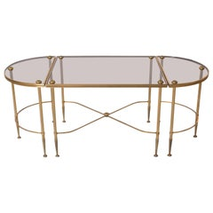 Three-Piece Brass and Glass Bagues Coffee Table, circa 1950
