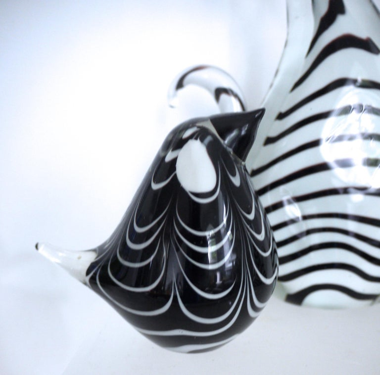 Three-Piece Collection Murano Art Glass Striped Cats '2.5kg each' and Bird 1980s For Sale 3