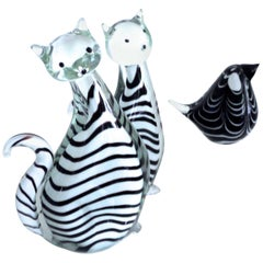 Three-Piece Collection Murano Art Glass Striped Cats '2.5kg each' and Bird 1980s
