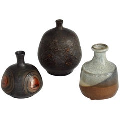 Three-Piece Collection of Diminutive Stoneware Vessels