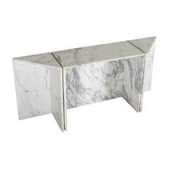 Three-Piece Console Table by Up&Up in Carrara Marble, Italy, 1970s