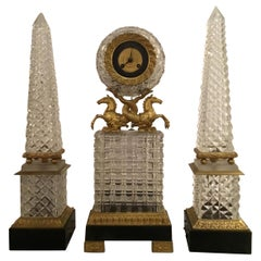 Three-Piece Crystal and Bronze Dore Clock with Sea Horses and Obelisks