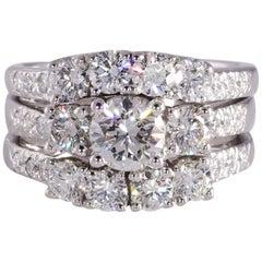 Three-Piece Diamond Wedding Set, 2.25 Carat TW 14 Karat Gold VS1-S2, H-J