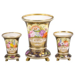Three-Piece English Porcelain Assembled Garniture, Spode, circa 1810