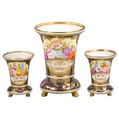 Three-Piece English Porcelain Assembled Garniture, Spode, circa 1810