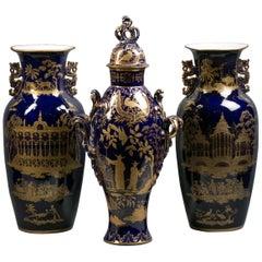 Three-Piece English Porcelain Chinoiserie Garniture, Staffordshire, circa 1820