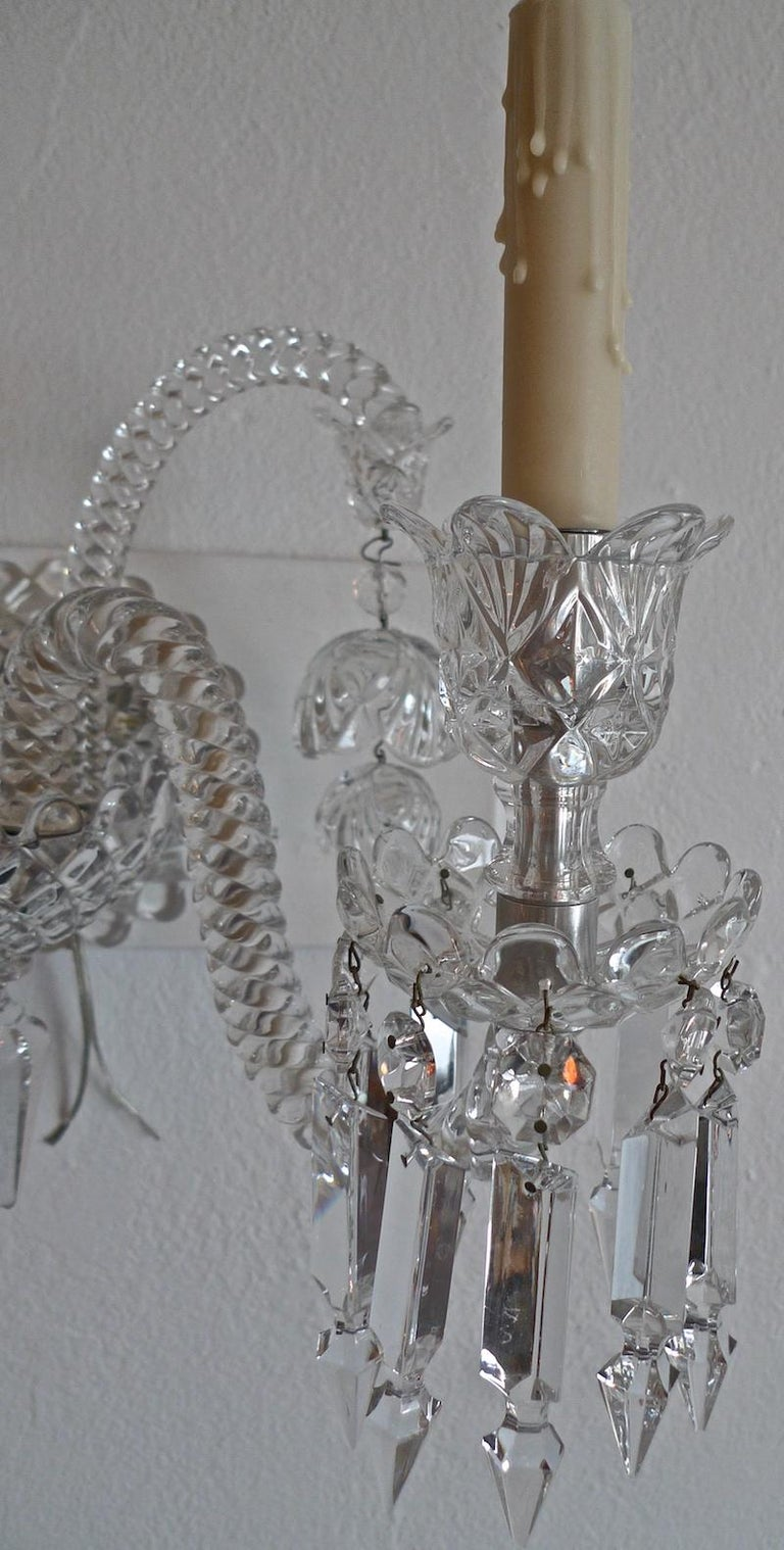 Three-Piece French 1970s Diamantes Baccarat Crystal Electrified Wall Sconces For Sale 6