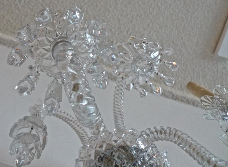 Three-Piece French 1970s Diamantes Baccarat Crystal Electrified Wall Sconces For Sale 8