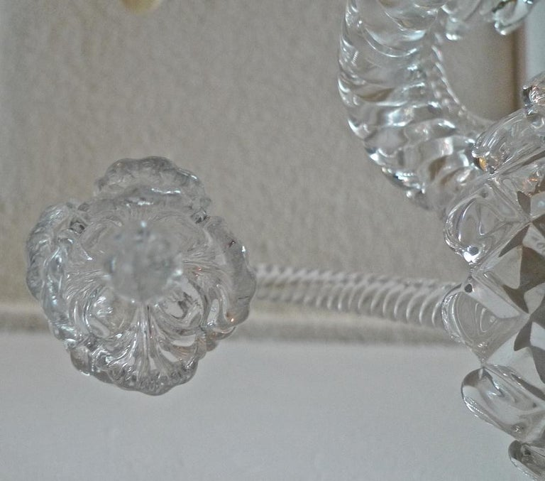 Three-Piece French 1970s Diamantes Baccarat Crystal Electrified Wall Sconces For Sale 11