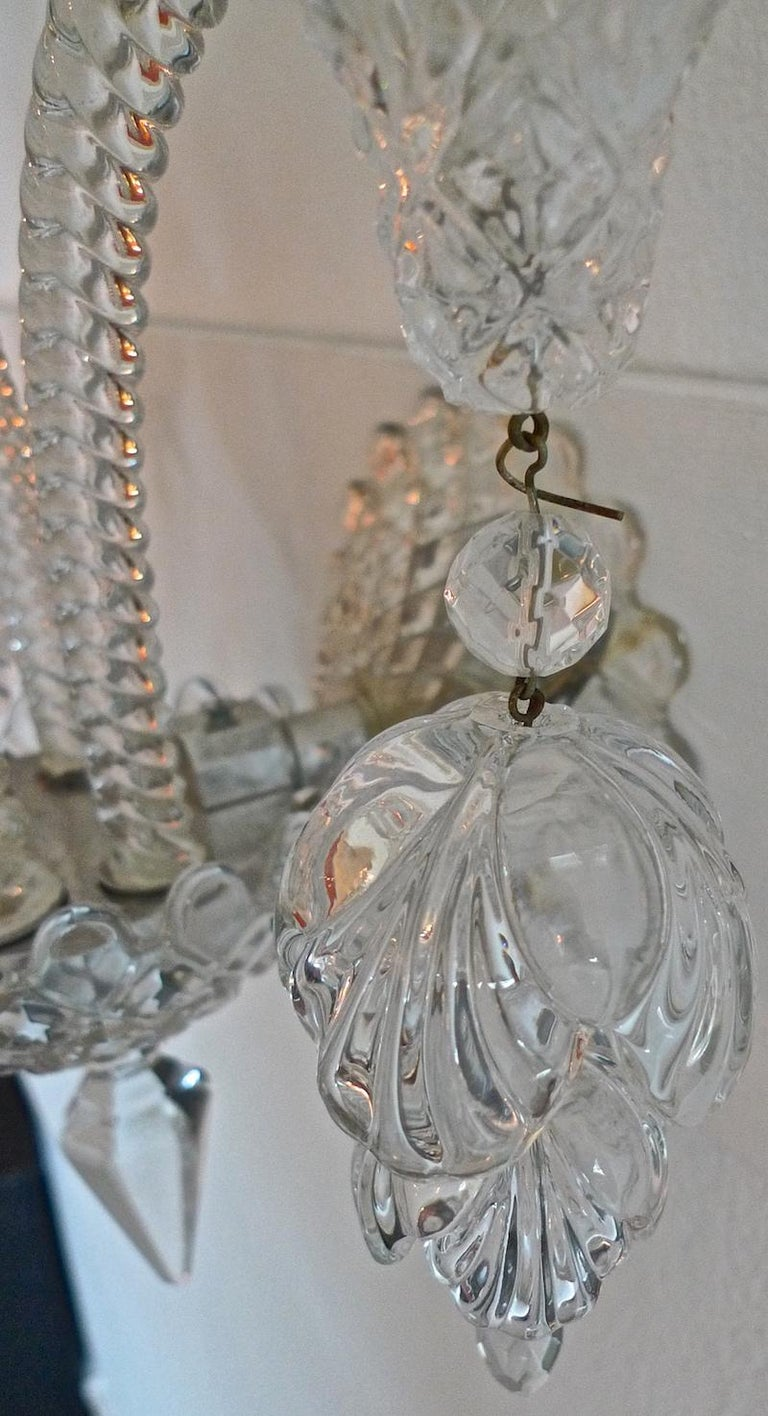 Three-Piece French 1970s Diamantes Baccarat Crystal Electrified Wall Sconces For Sale 12