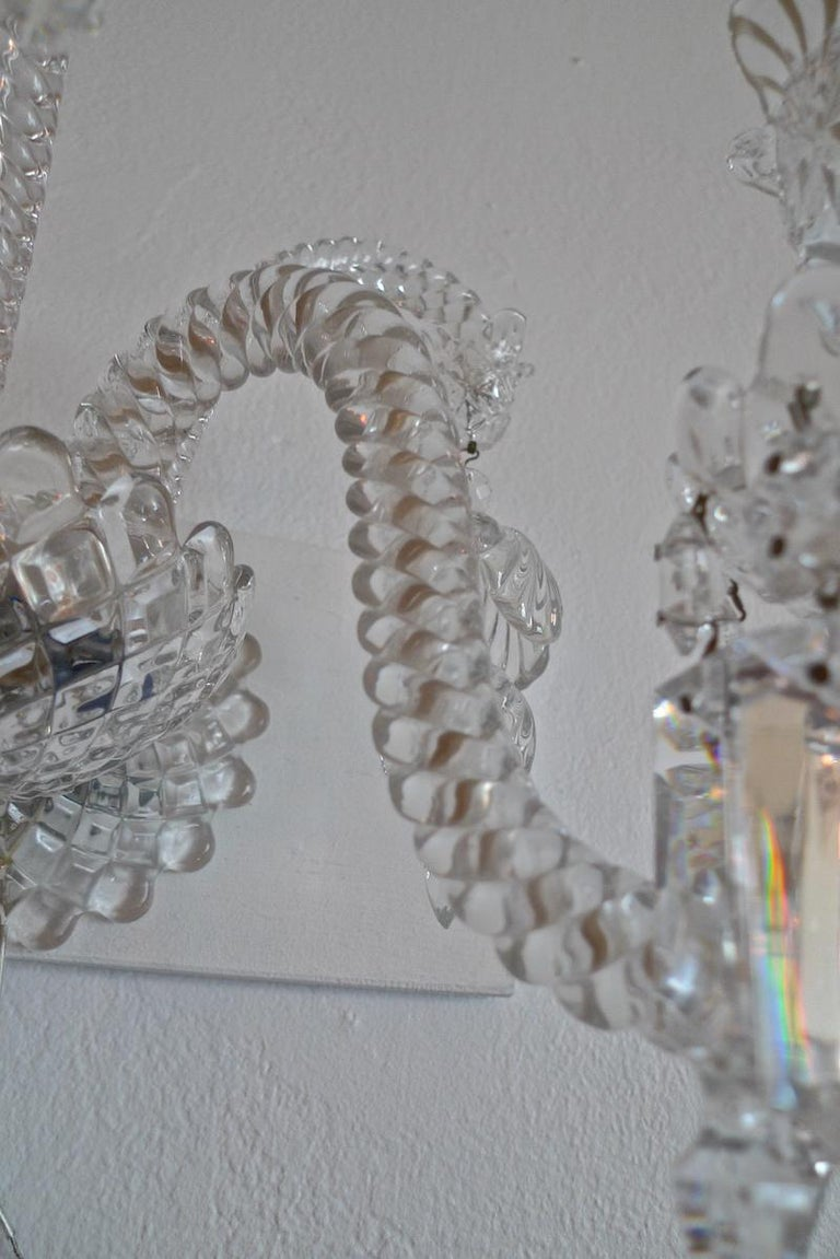 Three-Piece French 1970s Diamantes Baccarat Crystal Electrified Wall Sconces For Sale 13