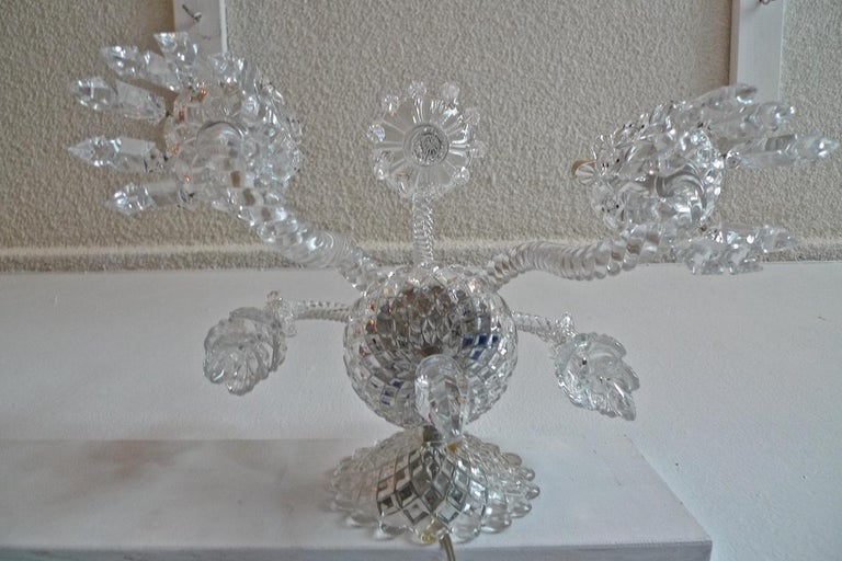 Three-Piece French 1970s Diamantes Baccarat Crystal Electrified Wall Sconces For Sale 14