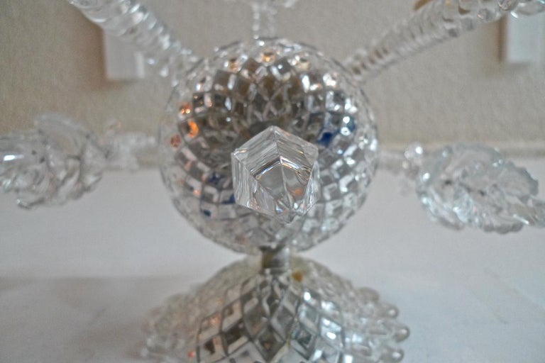 Three-Piece French 1970s Diamantes Baccarat Crystal Electrified Wall Sconces For Sale 15