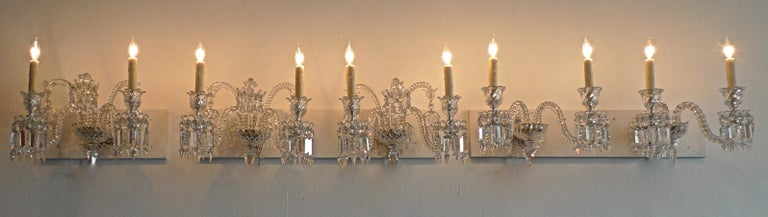 Three-Piece French 1970s Diamantes Baccarat Crystal Electrified Wall Sconces For Sale 16
