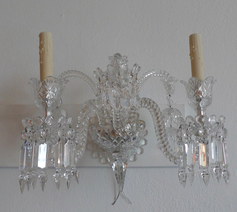 Three-Piece French 1970s Diamantes Baccarat Crystal Electrified Wall Sconces In Good Condition For Sale In Santa Monica, CA