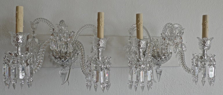 20th Century Three-Piece French 1970s Diamantes Baccarat Crystal Electrified Wall Sconces For Sale