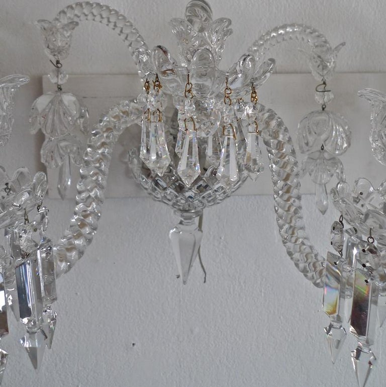 Three-Piece French 1970s Diamantes Baccarat Crystal Electrified Wall Sconces For Sale 1
