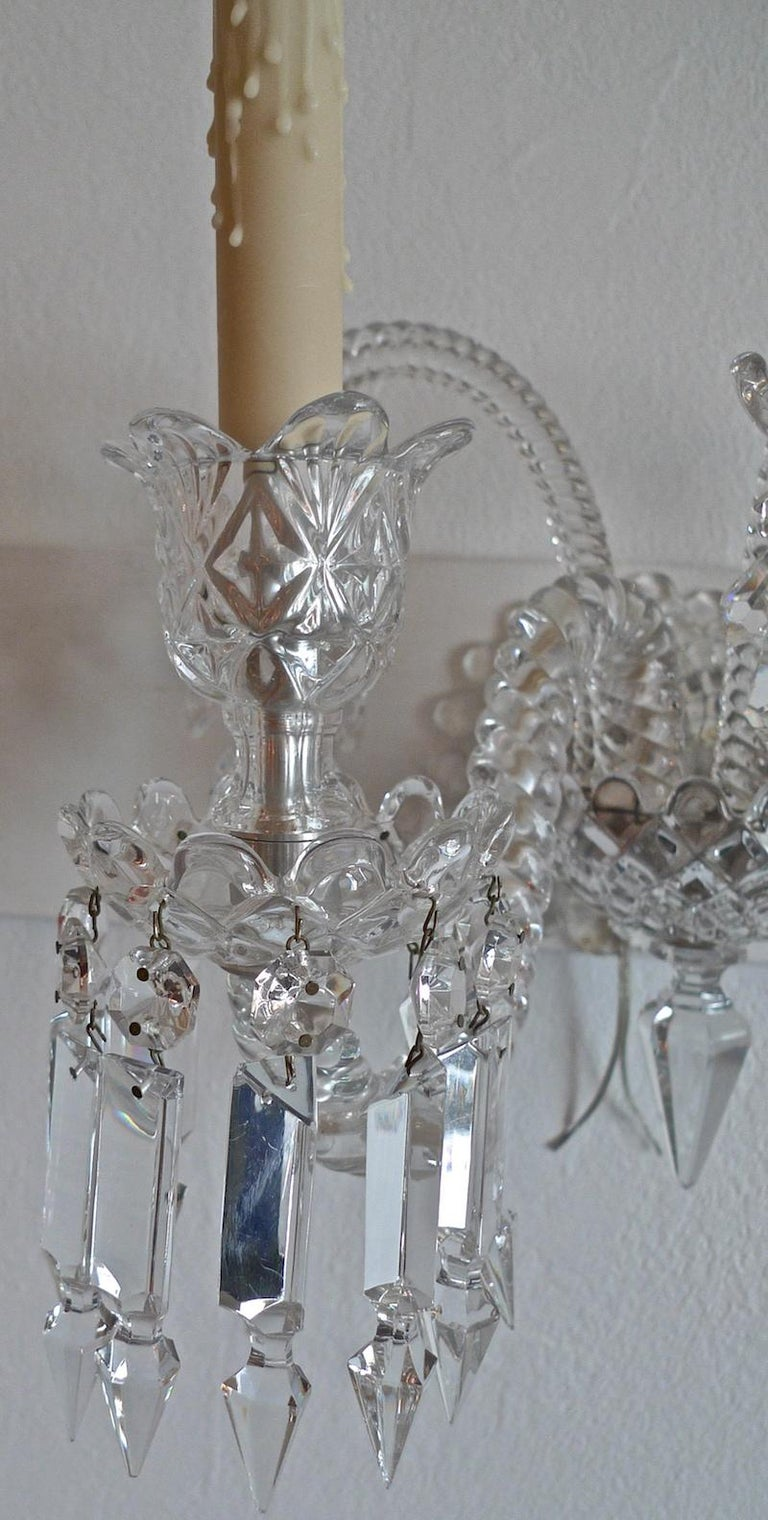 Three-Piece French 1970s Diamantes Baccarat Crystal Electrified Wall Sconces For Sale 3