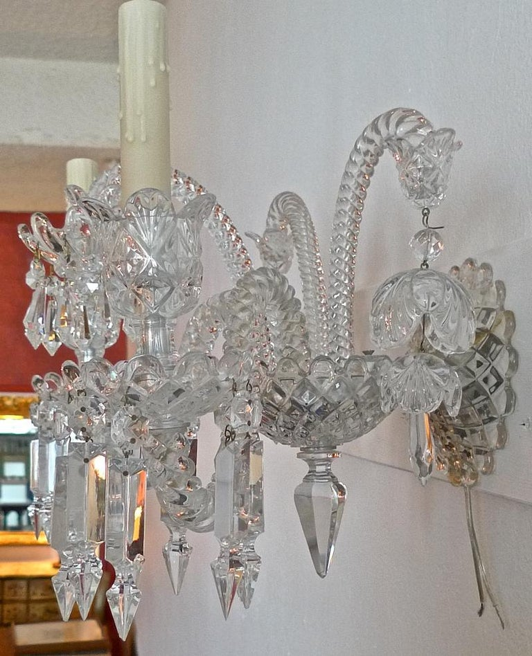 Three-Piece French 1970s Diamantes Baccarat Crystal Electrified Wall Sconces For Sale 4