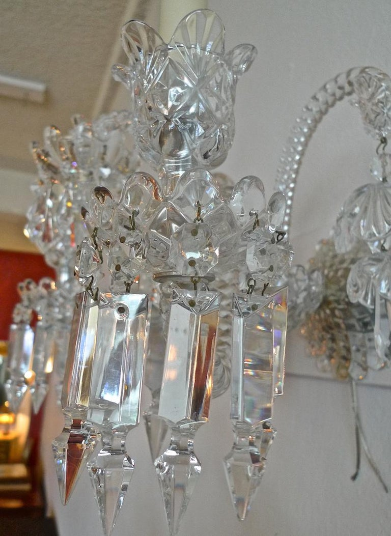 Three-Piece French 1970s Diamantes Baccarat Crystal Electrified Wall Sconces For Sale 5