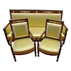 Three-Piece French Empire Mahogany and Gilt Bronze Salon Set