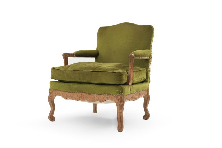 Three-piece French Regence style salon set with carved oak frames and green upholstery having gilt stud detail (Attributed to Maison Gouffé Paris, circa 1940) (settee: 062034B, pair of arms: 062034A)